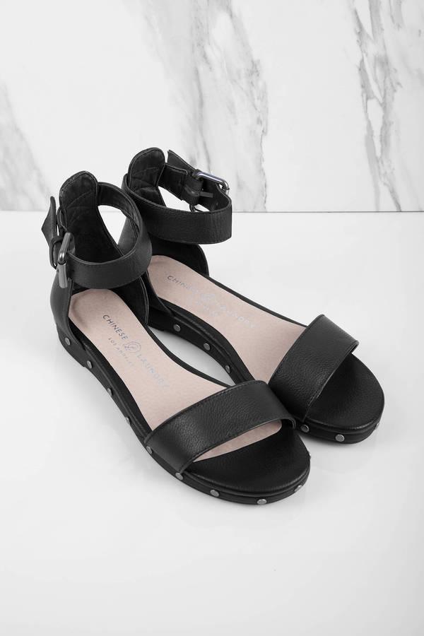 Black Sandals - Ankle Strap Sandals - Black Flat Sandals - C  82 ...
