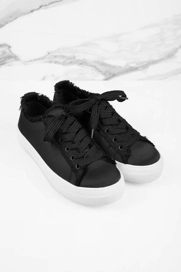 3563b3b81bf Black Steve Madden Sneakers - Distressed Sneakers - Black Satin ...