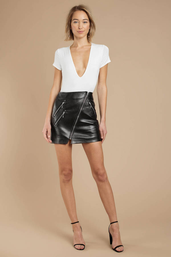 e259473af7 Black Blank Nyc Skirt - Faux Leather Skirt - Black Mini Leather ...