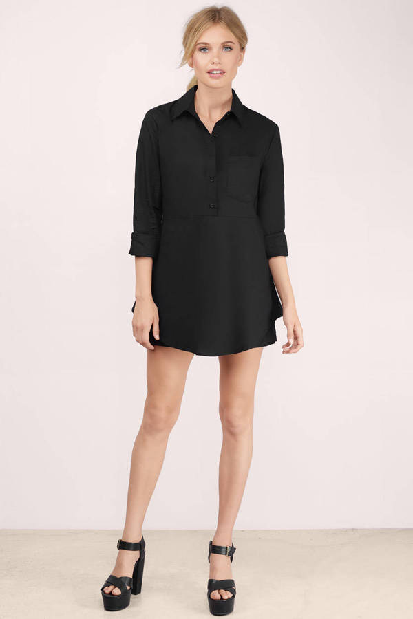 Cheap Black Day Dress - Black Dress - Shirt Dress - $14.00