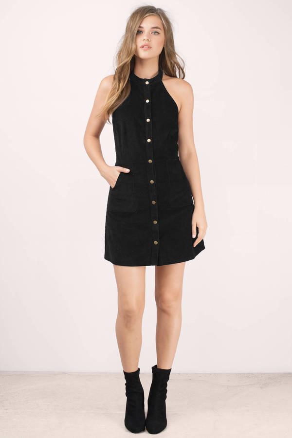 18646bcf04 Black Skater Dress - Black Dress - Button Up Dress - Corduroy Dress ...