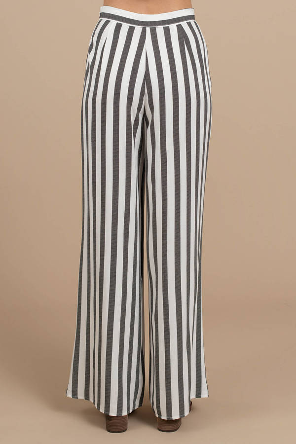 4c9d2702ef3 Black Pants - Striped High Waist Pants - Black Flowy Pants - £24 ...