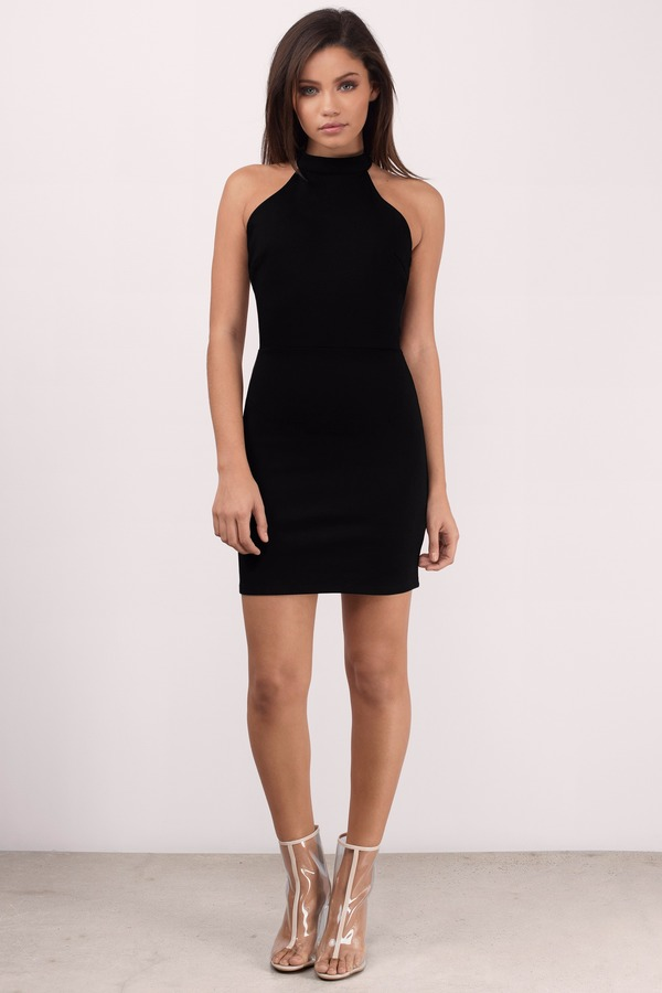 Trendy Black Skater Dress - Halter Dress - Skater Dress - $23