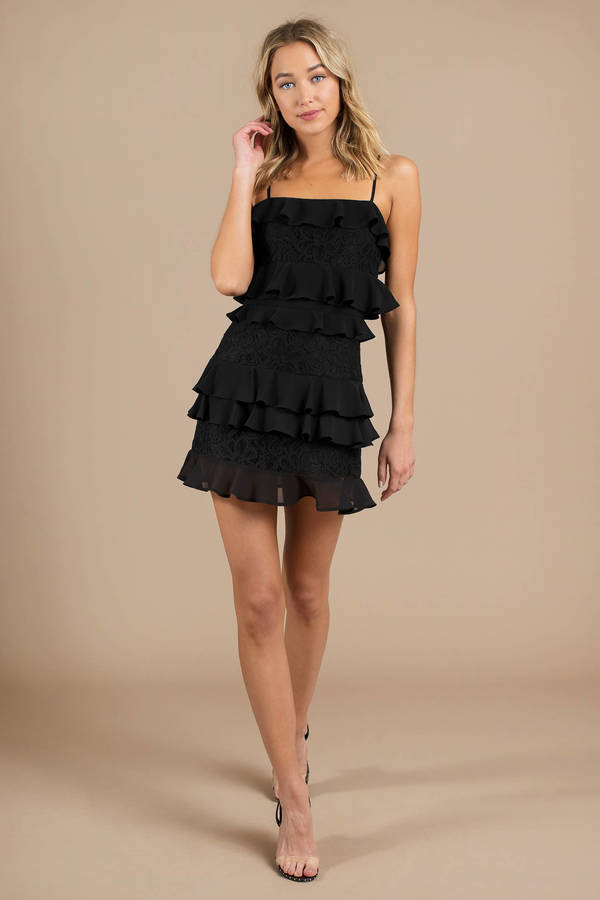 Cute Black Shift Dress Bar Dress Black Tiered Ruffle Dress 98