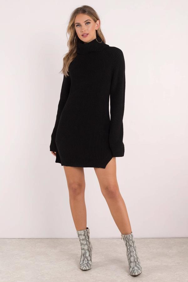 Black Casual Dress Sweater Knit Dress Black Turtleneck Dress