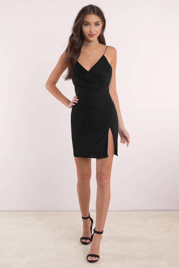 Sexy Black Dress Front Slit Dress Pewter Dress Wrap Dress