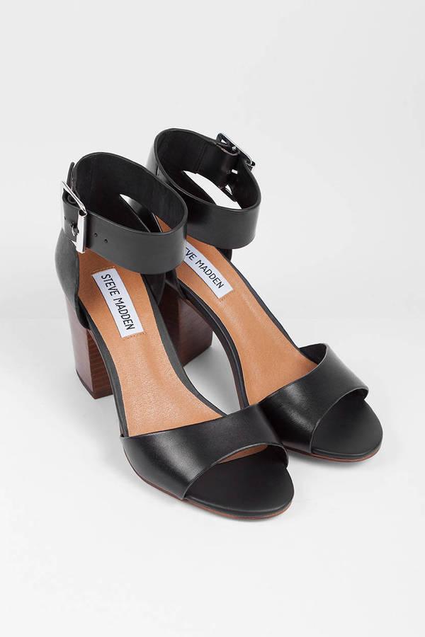 f80cfa7241a Black Leather Heels - Black Heels - Sandals Heels - Cuff Heels -  50 ...