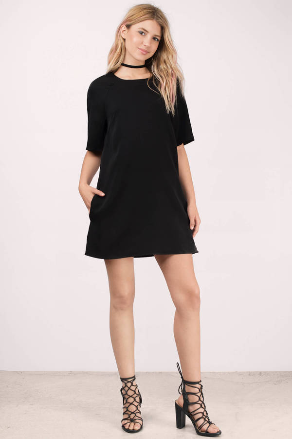 33024d62a044 Chic Black Dress - Oversized Dress - Raglan Sleeve Dress - Shift ...