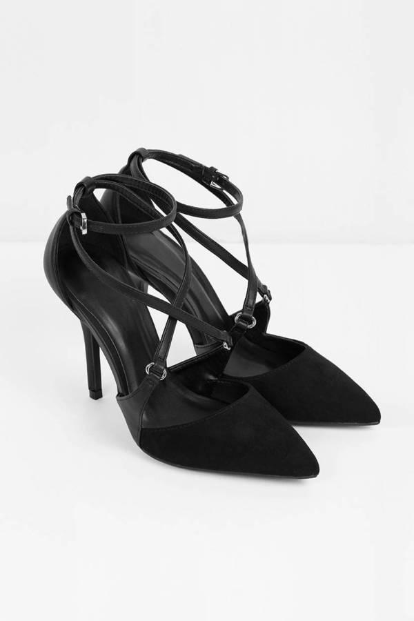 f86fab3b1 Cute Black Heels - Stiletto Heels - Criss Cross Heels - Pointed ...