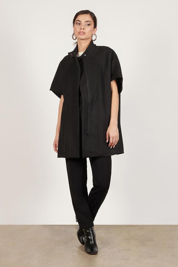 Cheap Black Coat - Black Coat - Short Sleeve Coat - $55.00