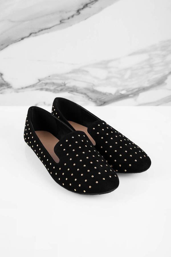 Cute Black Tobi Flats - Studded Flat