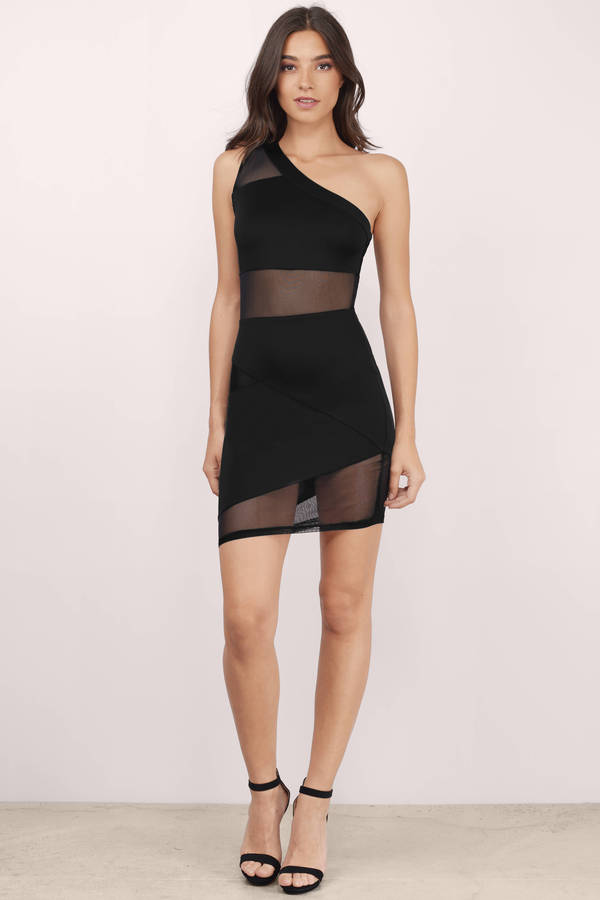 Black Bodycon Dress - Mesh Mini Dress - Black One Shoulder ...