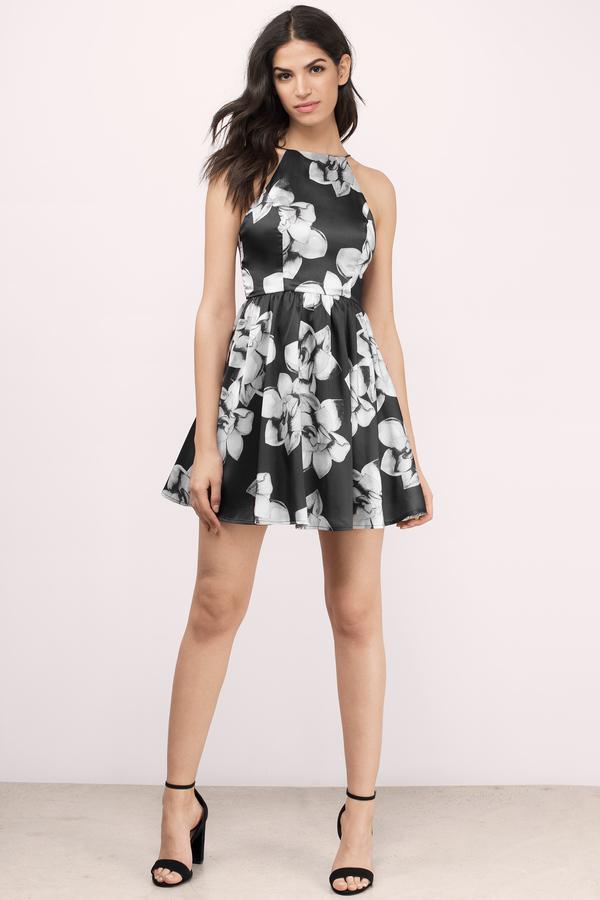 Trendy Black Multi Skater Dress - High Neck Dress - $66.00