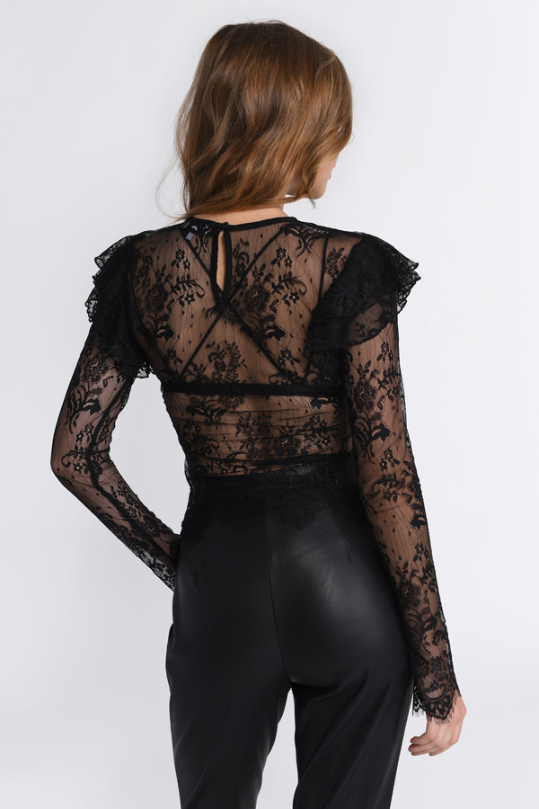 438ca6c8eae Black Going Out Top - Lace Overlay Top - Black Ruffled Top -  19 ...