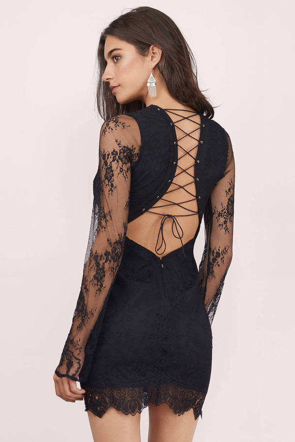Black lace one sleeve dress