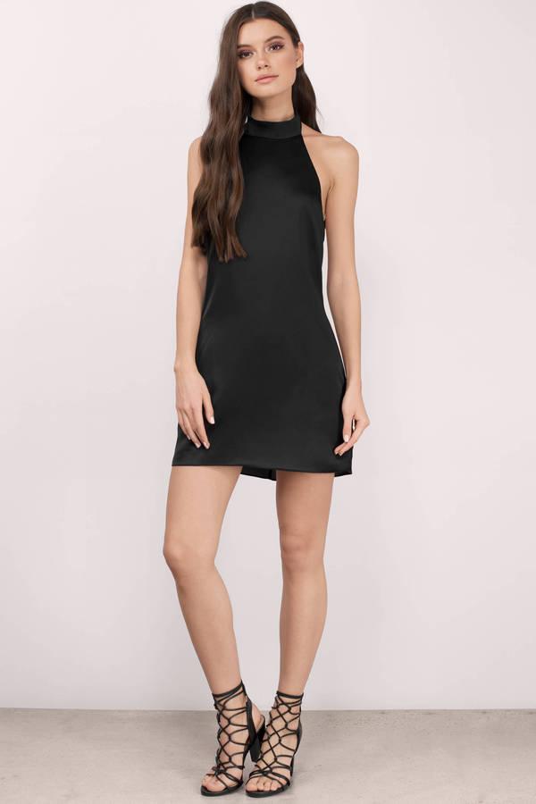 Black Shift Dress - Black Dress - Satin Dress - $40.00
