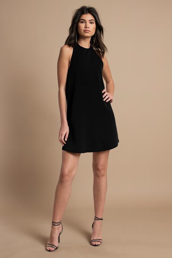 Black Shift Dress - Backless Dress - Black Dress - $56