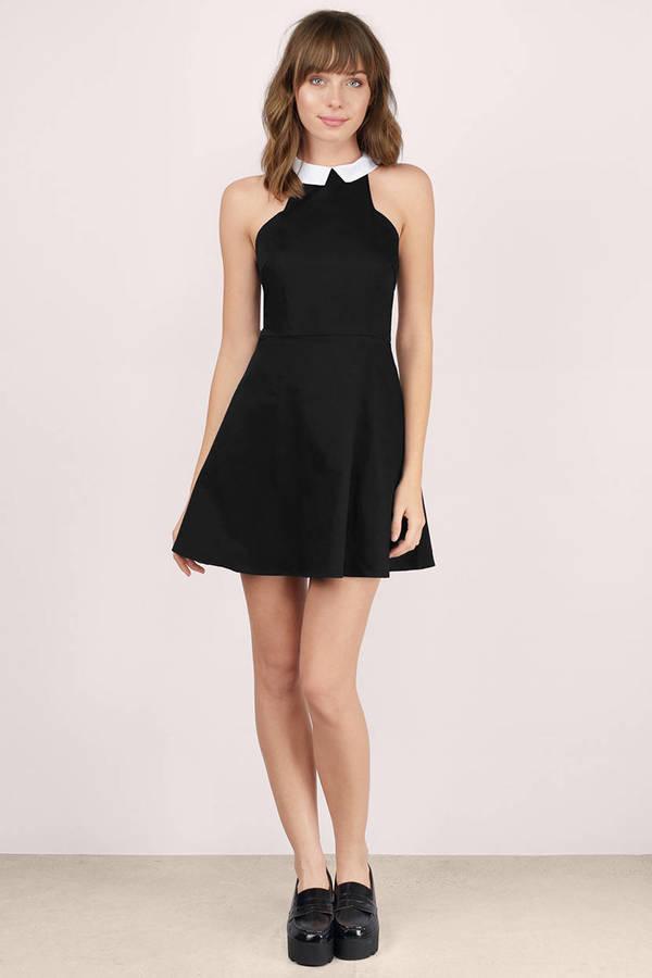 Black Collared Tie Back Tropical Print Bodycon Dress From: Trendy Black Skater Dress