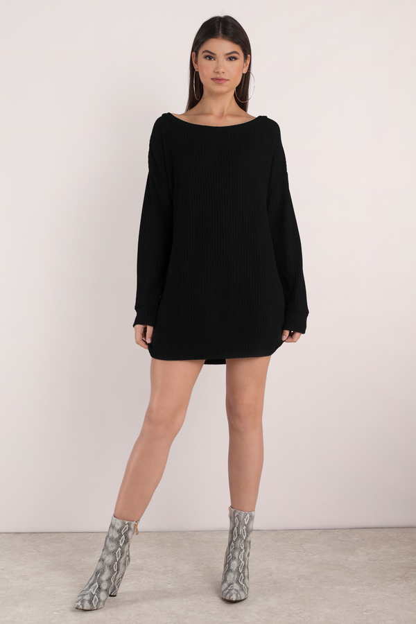 Black Shift Dress Sweater Dress Black Scoop Neckline Dress 31