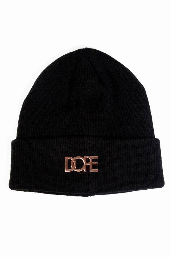 DOPE Rose Gold Metal Logo Beanie