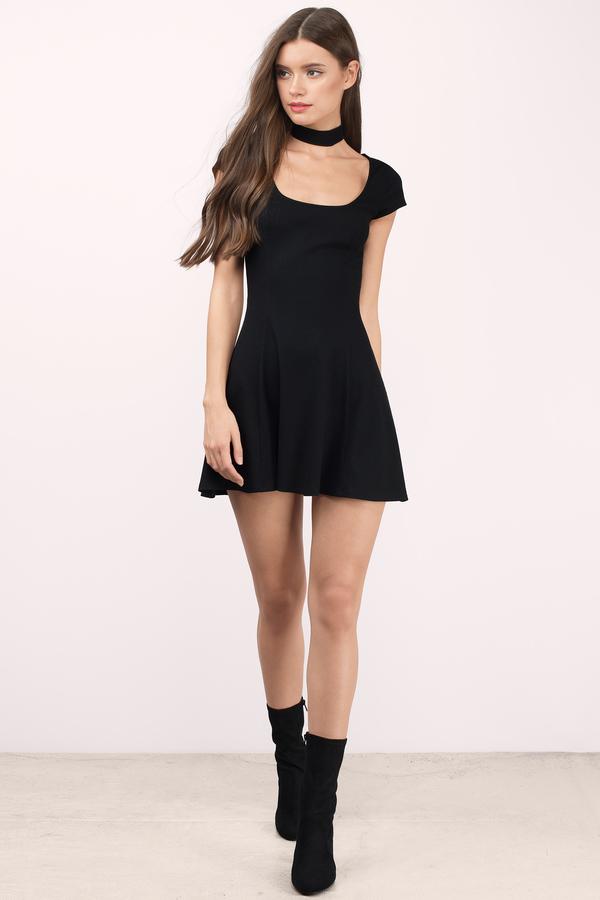 Cute Black Skater Dress - Short Sleeve Dress - $48.00