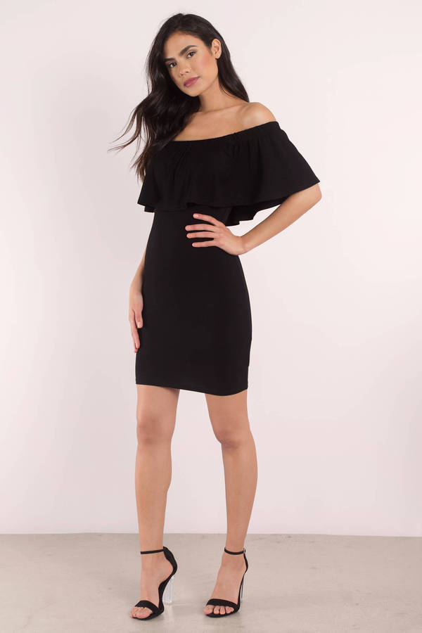 633284a83b1d Bodycon Dress - Off The Shoulder Dress - Black Dress -  27
