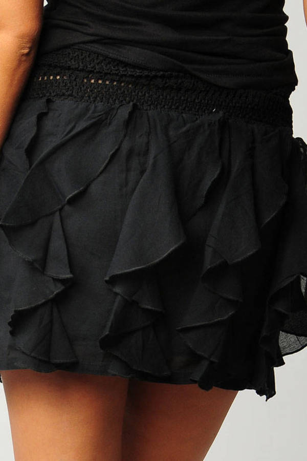 f63fa23a968a Black Free People Skirt - Ruffle Skirt - Black Crochet Knit Skirt ...