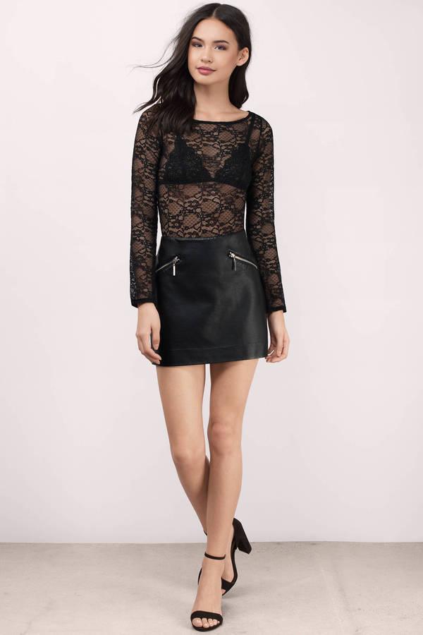 d4d9549336c14 Black Bodysuit - Long Sleeve Bodysuit - Lace Bodysuit - C  32