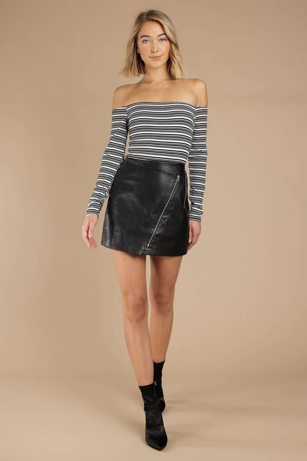 74f291ec6e5c Black Skirt - Faux Leather Mini Skirt - Black Moto Skirt - $24 | Tobi US