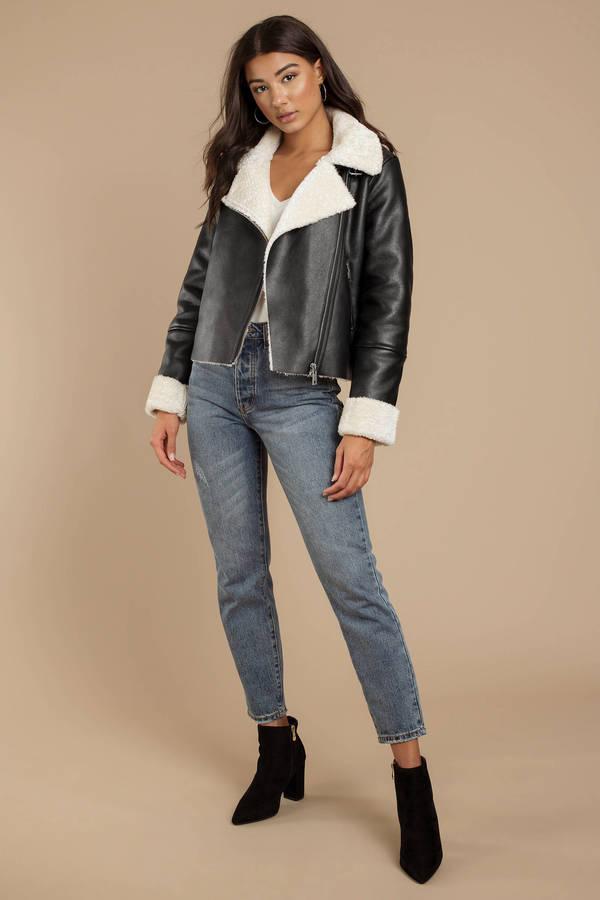 f0ab52c54 Black Blank Nyc Jacket - Vegan Leather Moto Jacket - Black Shearling ...
