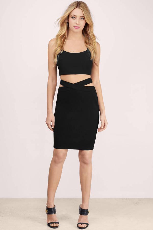 Trendy Black Skirt - Pencil Skirt - Cut Out Skirt - Black Skirt - € 14