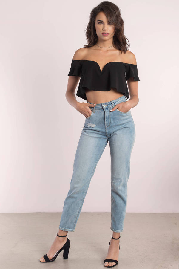 Cute Black Crop Top Off Shoulder Top Black Top Black