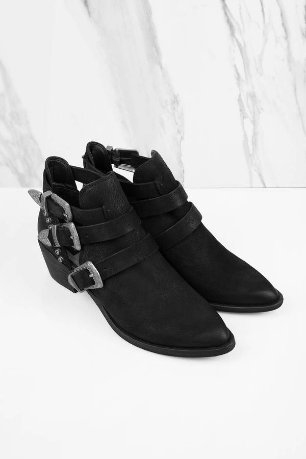 Black Boots - Buckle Strap Boots - Western Ankle Boots - $176.00