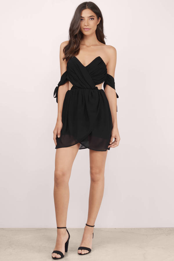 Cheap Black Wrap Dress - Black Dress - Backless Dress - $17.00