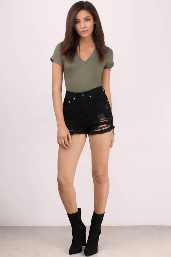 Trendy Black Jean Shorts Distressed Denim Shorts Black