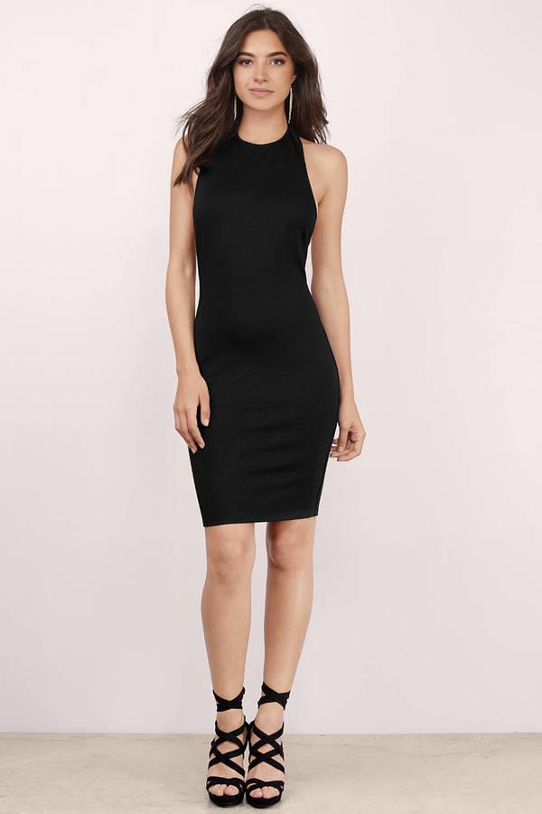 Black Dress Backless Dress Halter Dress Sleeveless Midi Dress