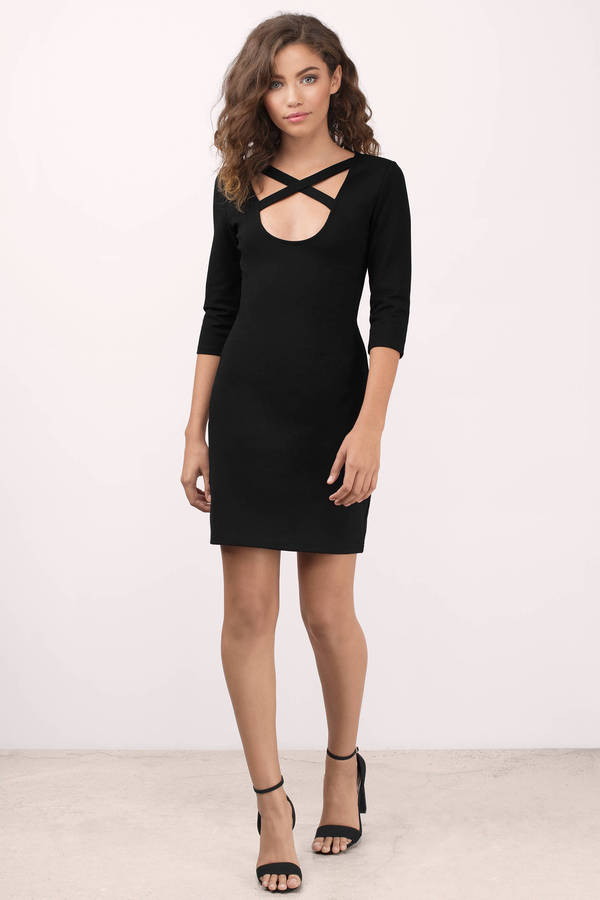 Trendy Black Bodycon Dress - 3/4 Sleeve Dress - $66.00