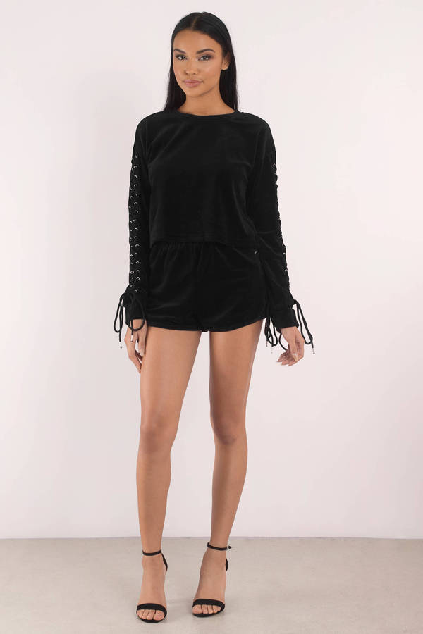 3983552b31 Trendy Black Sweatshirt - Lace Up Sweatshirt - Long Sleeve - € 16 ...