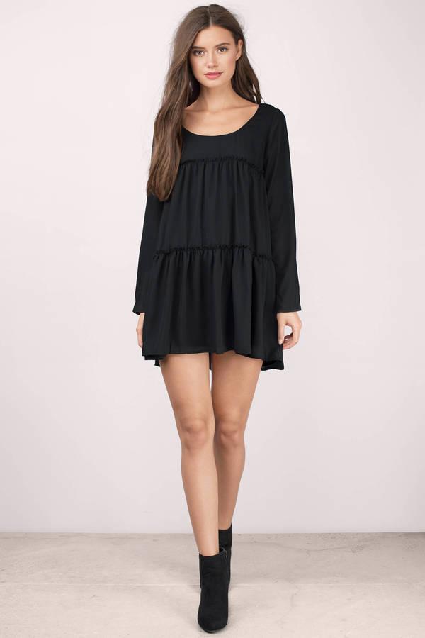 Cute Black Shift Dress - Long Sleeve Dress - $23.00