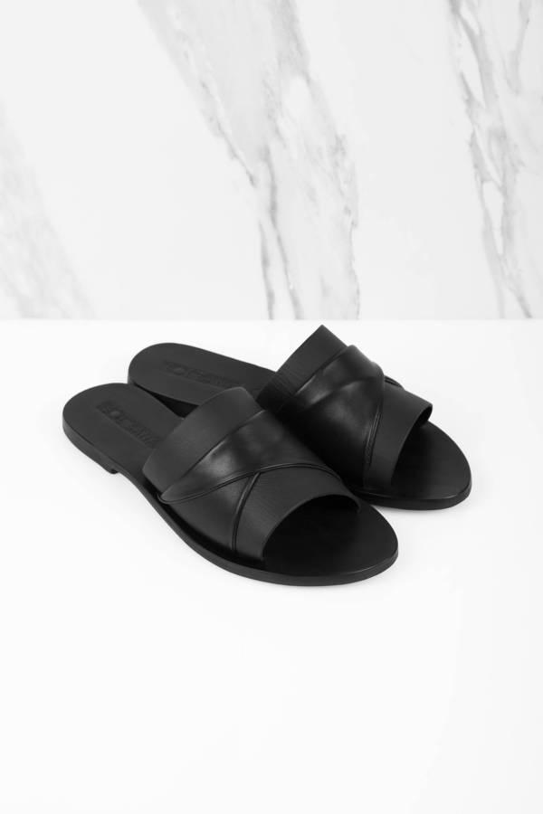 a703ef325ca6 Black Sandals - Flat Sandals - Black Slip On Sandals -  48