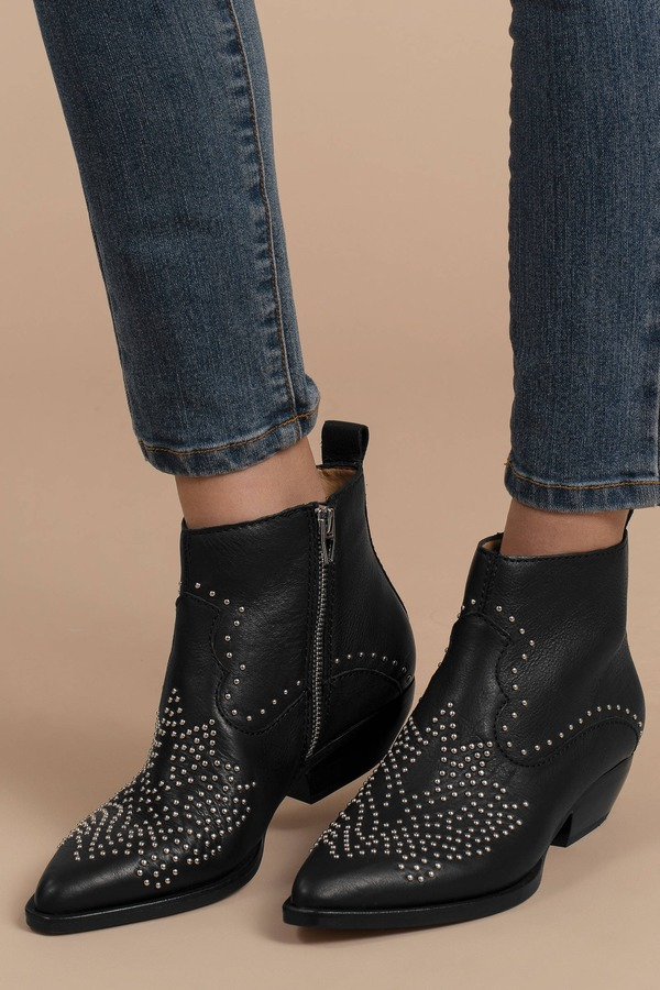 f87801e368 Black Dolce Vita Boots - Studded Boots - Black Western Inspired ...