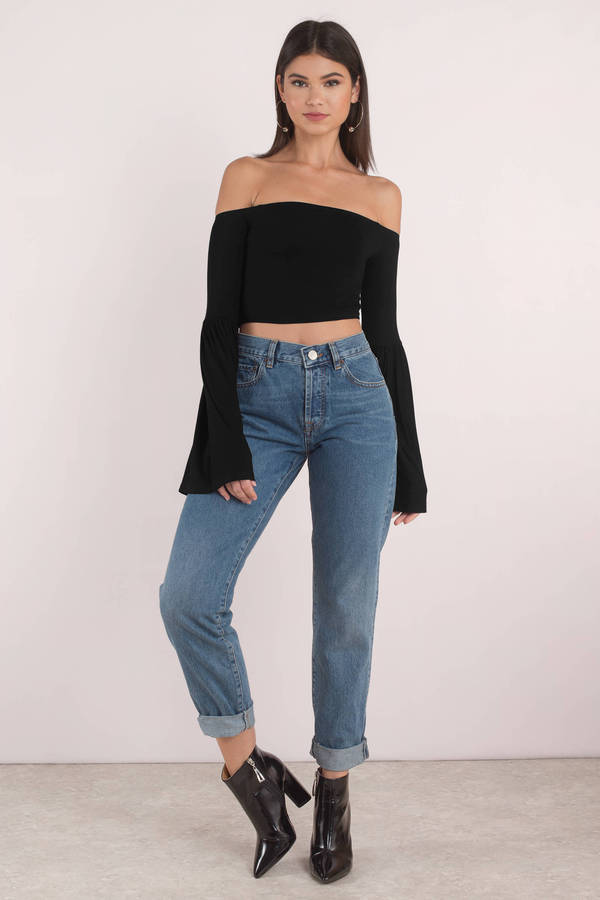 bc443361fa Black Crop Top - Fitted Off Shoulder Top - Black Bell Sleeve Top ...
