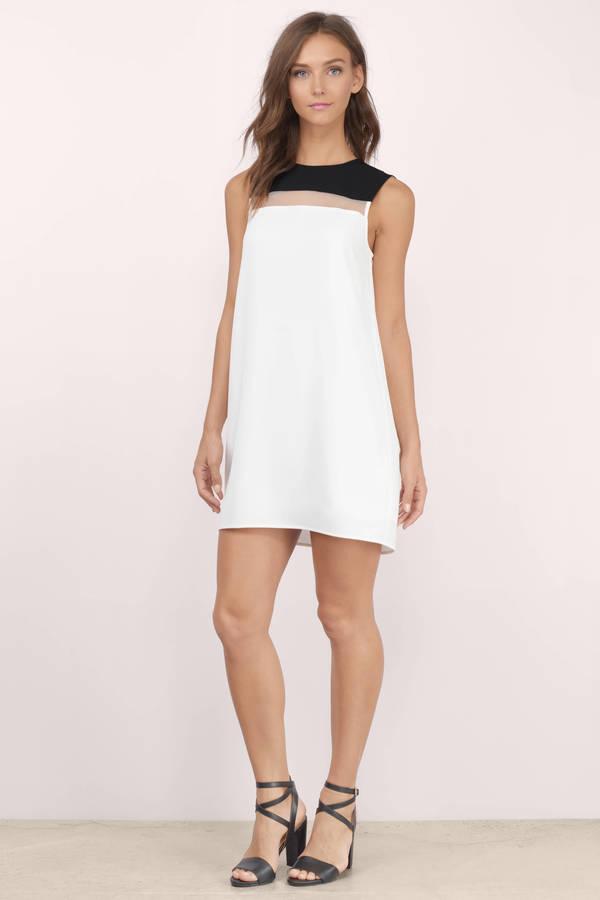 Cute Black & White Shift Dress - Sleeveless Dress - $17.00