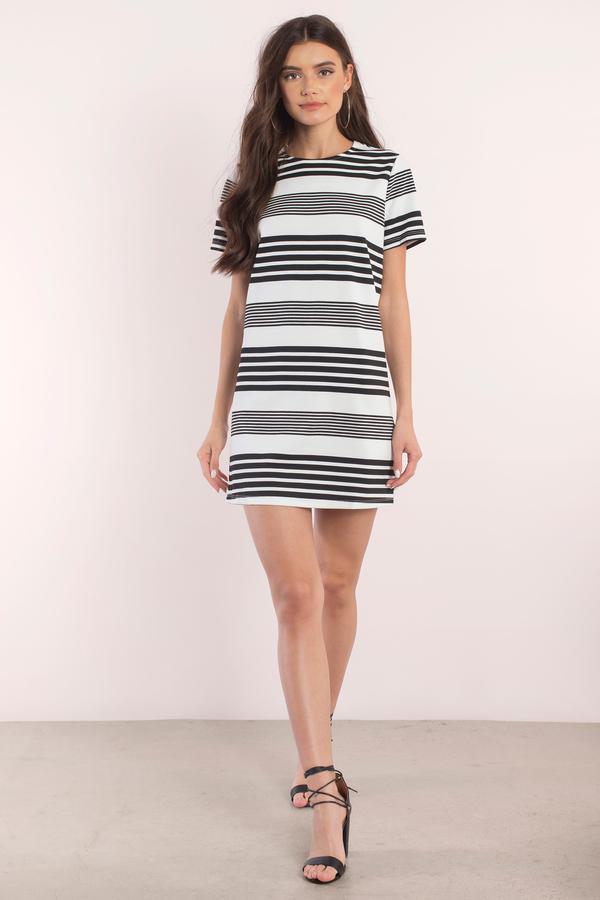 9ce5b6c93793 Black   White Dress - Short Sleeve Dress - Nice Dress - Day Dress ...