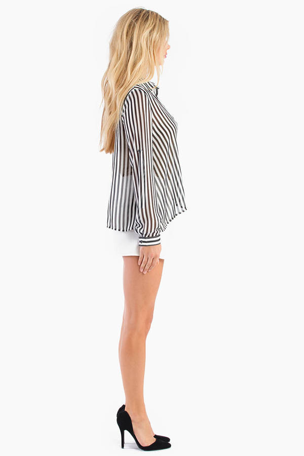 Landing Stripes Chiffon Top