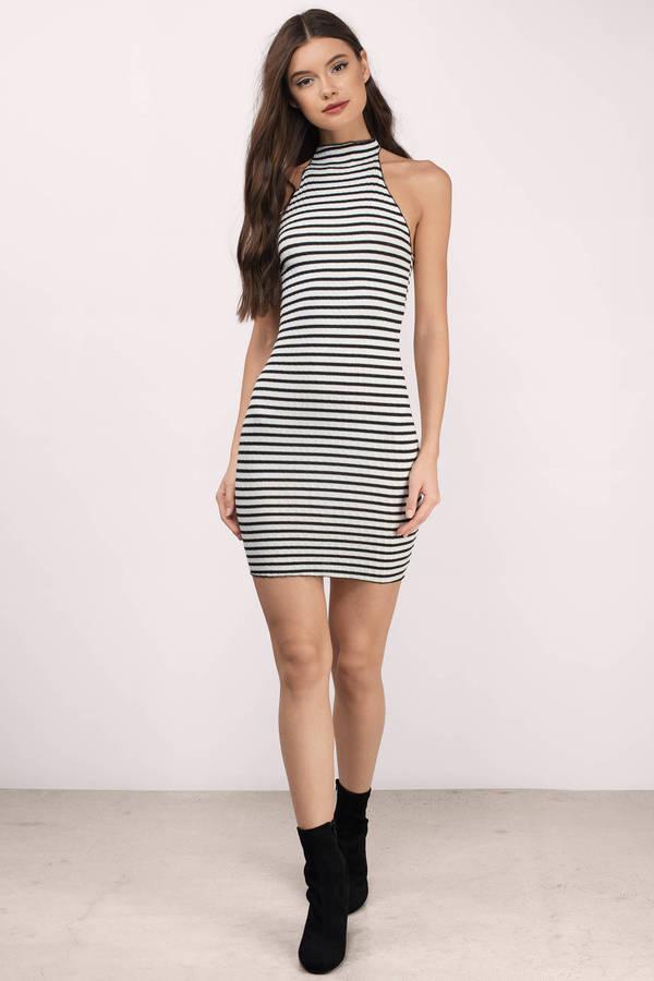 Cute Black & White Day Dress - High Neck Dress - Black Dress - $48.00