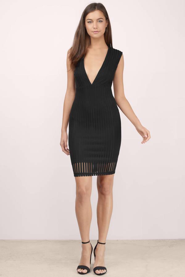 Cheap Black Midi Dress - Plunging V Dress - Midi Dress - $15