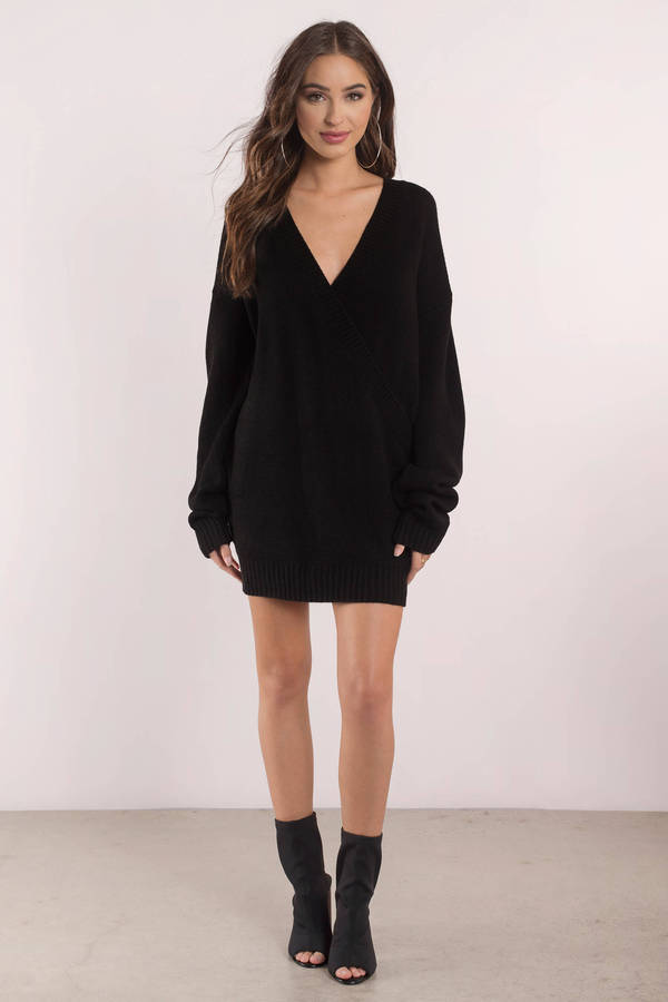 48adf196af90 Cute Black Dress - Deep V - Black Oversized Sweater -  49