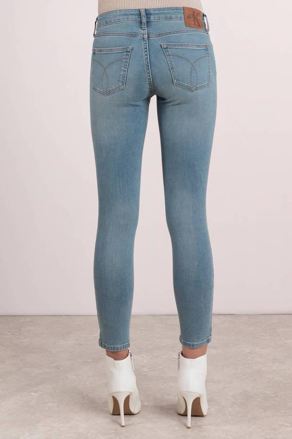 4329b551693ed Cute Blue Calvin Klein Pants - Skinny Jeans - Blue Ankle Jeans - $49 ...