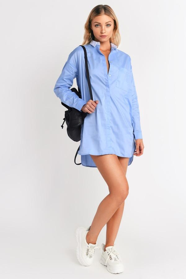 Cute Blue Shift Dress - Oversized Dress - $18.00